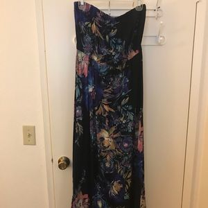 Black and blue floral maxi dress